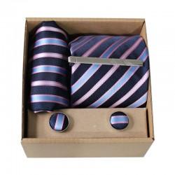 Modrá kravata s prúžkami v darčekovom balení MARROM