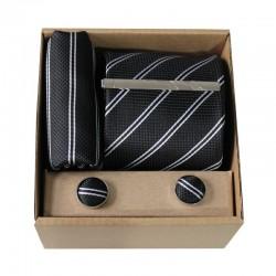 Čierna kravata s prúžkami v darčekovom balení MARROM