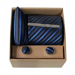 Čierna kravata s modrými prúžkami v darčekovom balení MARROM