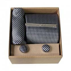 Černá - bílá kravata v dárkovém balení MARROM