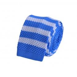 Pletená kravata - biela s prúžkami