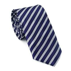 Slim kravata - bílo - modré proužky