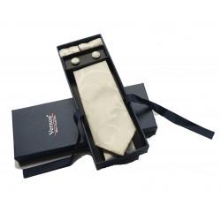 Béžová kravata so vzorom v darčekovom balení Vernon