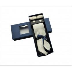 Smotanová kravata so vzorom v darčekovom balení Vernon