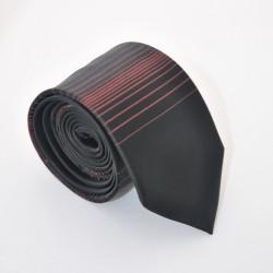 Čierna kravata s prúžkami 4 ANGELO di MONTI