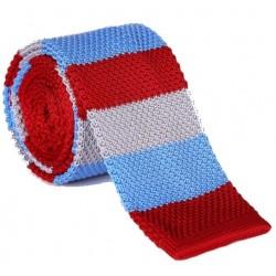 Pletená kravata - prúžky 01