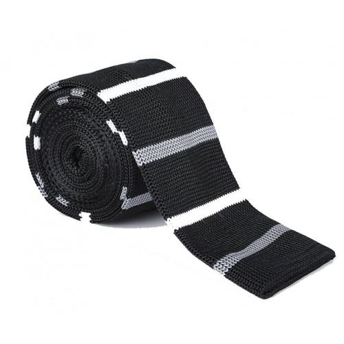 Pletená kravata - prúžky 04