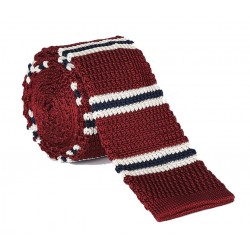Pletená kravata MARROM - prúžky 06