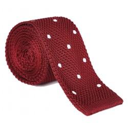 Pletená kravata MARROM - vínová s bodkami