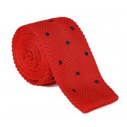 Pletená kravata MARROM - červená s bodkami