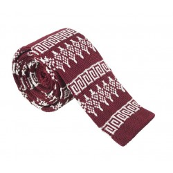 Pletená kravata MARROM - tmavo červená so vzorom