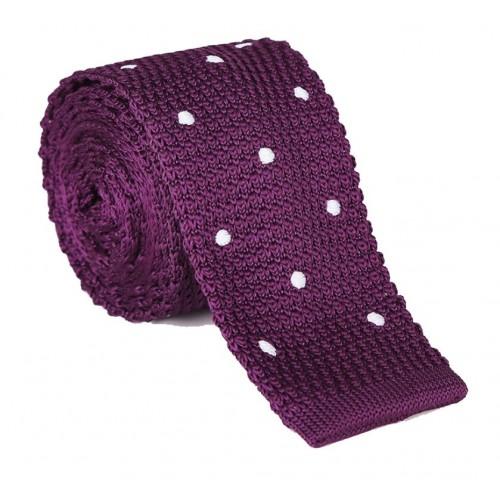 Pletená kravata MARROM - fialová s bodkami