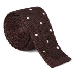 Pletená kravata MARROM - hnědá s puntíky