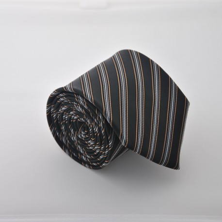 Černá kravata s proužky ANGELO di MONTI