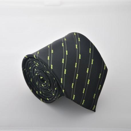 Černá kravata s proužky 2 ANGELO di MONTI