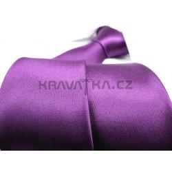 Fialová kravata SLIM - lesklá