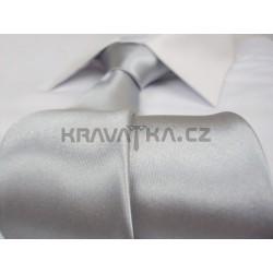 Jednofarebná SLIM kravata (strieborná)