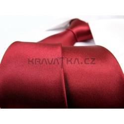 Jednofarebná SLIM kravata - vínová