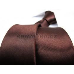 Hnedá kravata SLIM - lesklá