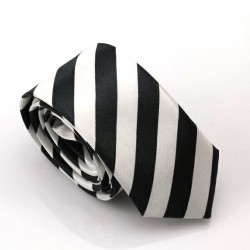 Crazy kravata (černo-bílé proužky)