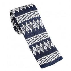 Pletená kravata MARROM - tmavo modrá so vzorom