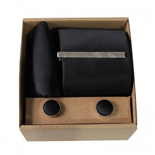 Šedá kravata s prúžkami v darčekovom balení MARROM
