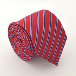 Červená kravata s prúžkami 3 ANGELO di MONTI