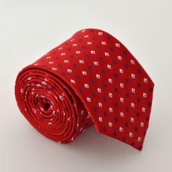 Červená kravata s kockami 3 ANGELO di MONTI