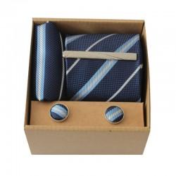 Modrá kravata s prúžkami II v darčekovom balení MARROM