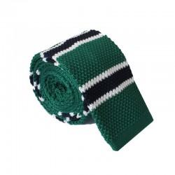 Pletená kravata MARROM - zelená s prúžkami