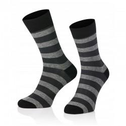 Pánske ponožky MARROM - čierno šedé prúžky 41/43
