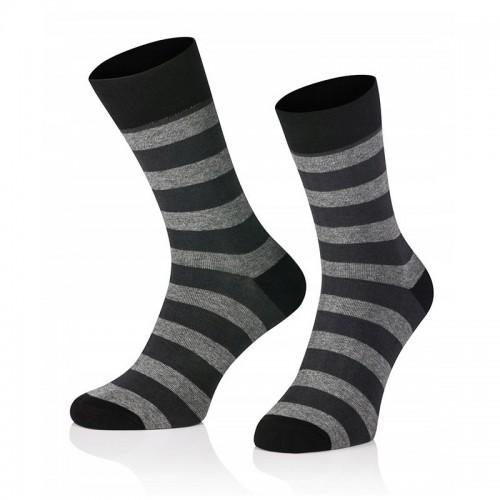 Pánske ponožky MARROM - čierno šedé prúžky 44/46