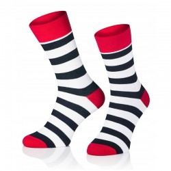 Pánske ponožky MARROM - čierno bielo červené prúžky 44/46