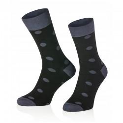 Pánske ponožky MARROM - čierne s bodkami 41/43