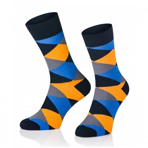 Pánske ponožky MARROM - modro oranžové káro 41/43