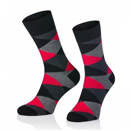 Pánske ponožky MARROM - tmavo červené káro 41/43