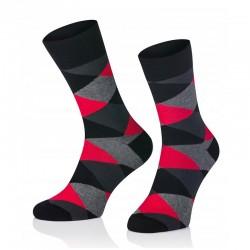 Pánske ponožky MARROM - tmavo červené káro 44/46