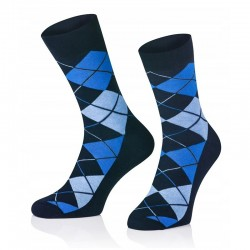 Pánske ponožky MARROM - tmavo modré káro 44/46