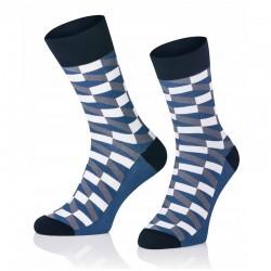 Pánske ponožky MARROM - modro biela šachovnica 41/43