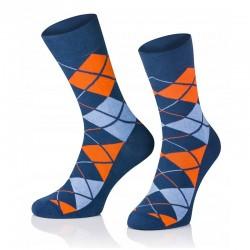Pánske ponožky MARROM - modro oranžové káro 44/46