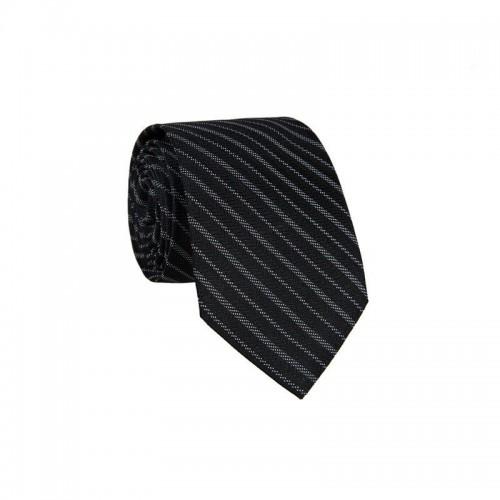 Hodvábna kravata MARROM - čierna s prúžkami