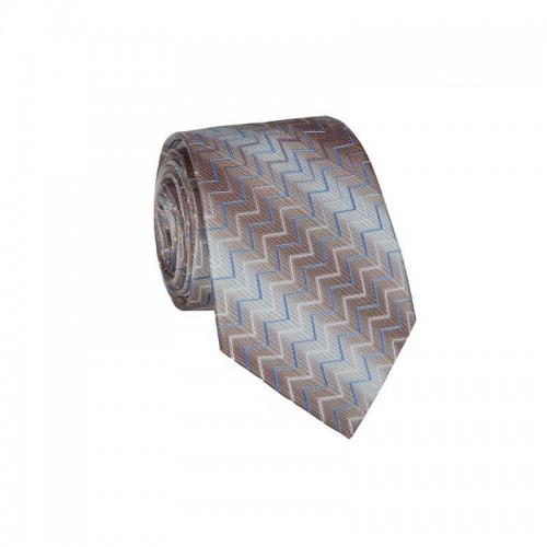Hodvábna kravata MARROM - béžovo hnedá
