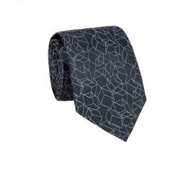 Hodvábna kravata MARROM - sivá s 3D vzorom