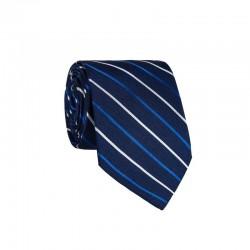 Hedvábná kravata MARROM - modrá s proužky I