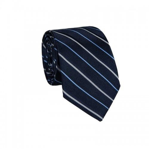 Hodvábna kravata MARROM - modrá s prúžkami II