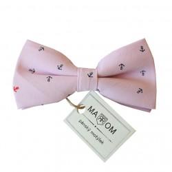 Pánsky motýlik MARROM - ružový s kotvičkami
