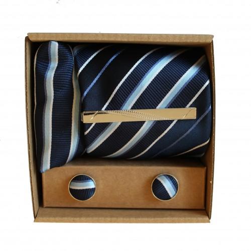 Modrá kravata s prúžkami III v darčekovom balení MARROM