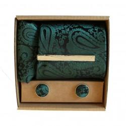 Zelená kravata so vzorom v darčekovom balení MARROM