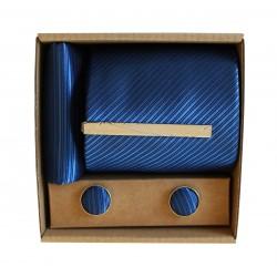 Modrá kravata s jemnými prúžkami v darčekovom balení MARROM