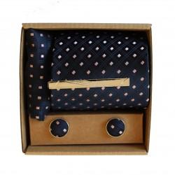 Modrá kravata so vzorom v darčekovom balení MARROM